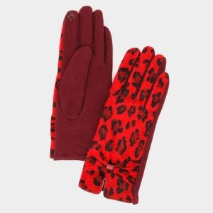 Black and Red Leopard Print Bow Smart Gloves